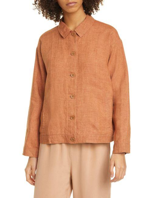 Eileen Fisher Orange Classic Collar Organic Linen Jacket