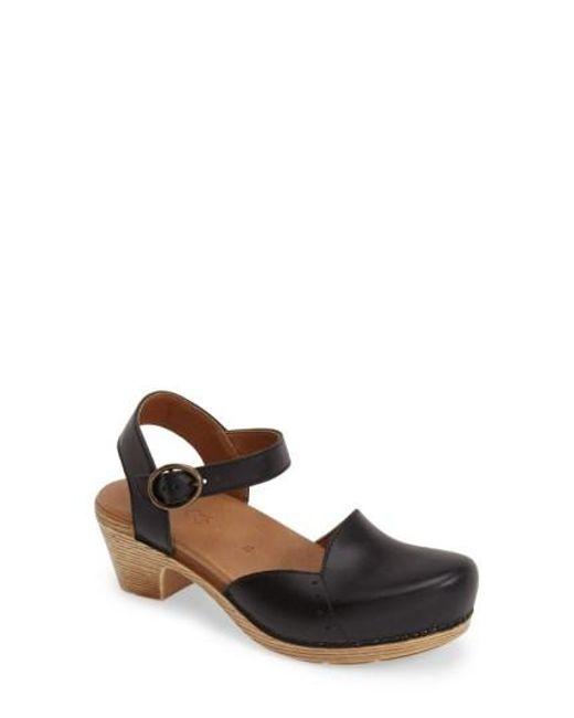 Dansko   Black 'maisie' Ankle Strap Leather Pump   Lyst