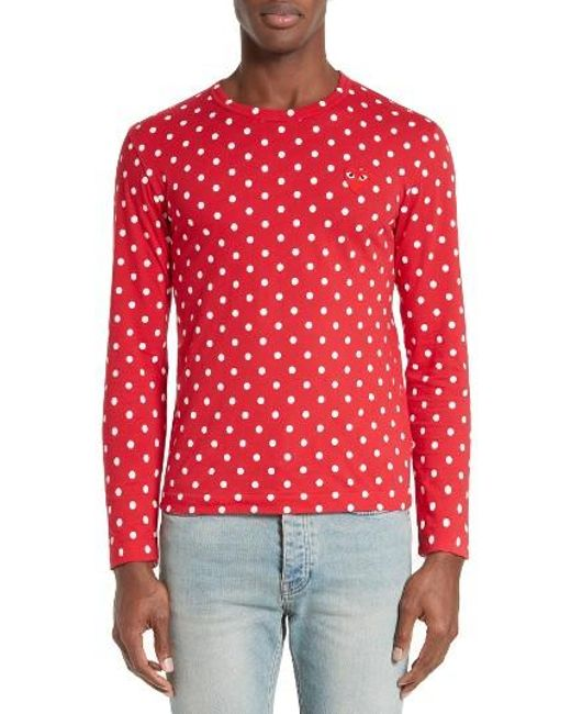 Comme des Garçons | Red Dot Print Long Sleeve Crewneck T-shirt for Men | Lyst
