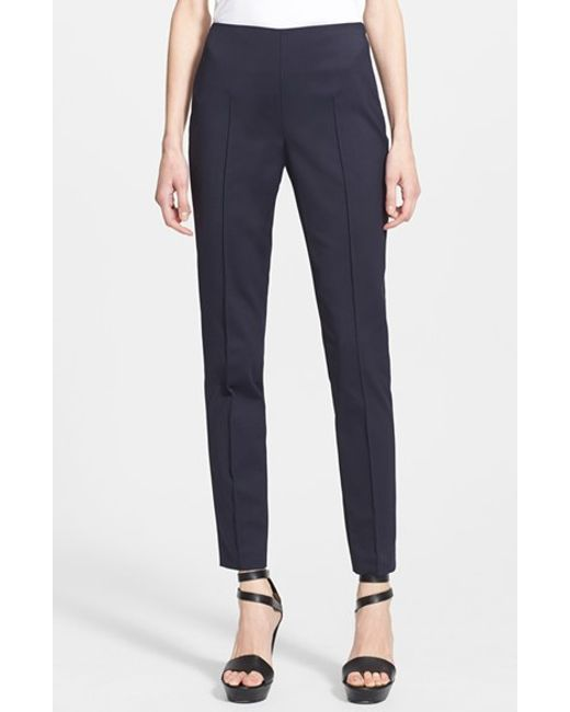 Akris | Blue 'melissa' Slim Techno Cotton Ankle Pants | Lyst