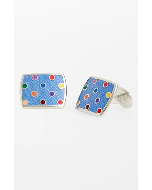 David Donahue | Blue Polka Dot Cuff Links for Men | Lyst
