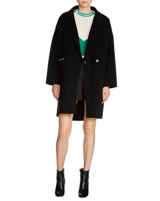 Maje | Black Zip Pocket Double-face Coat | Lyst