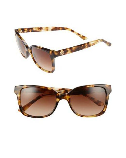 Tory Burch | Brown 54mm Sunglasses - Light Tortoise | Lyst