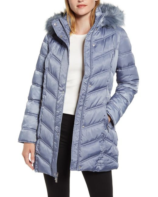 Kenneth Cole Blue Faux Fur Trim Puffer Jacket