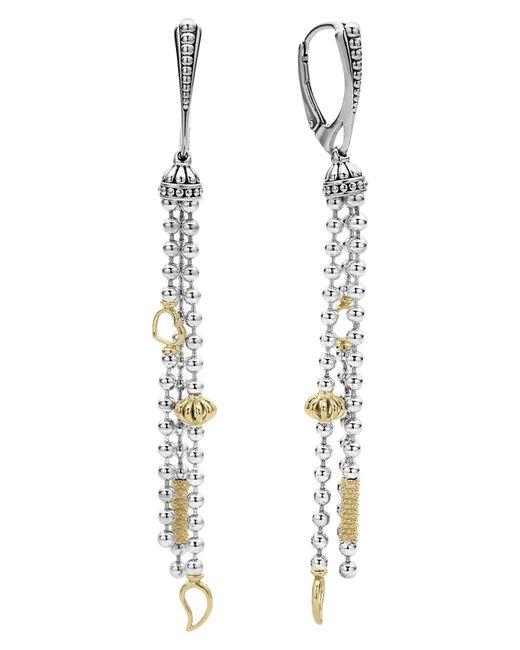 Lagos - Metallic 'caviar Icon' Linear Drop Earrings - Lyst