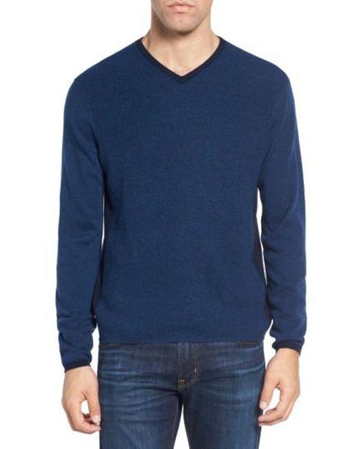 Zachary Prell | Blue V-neck Colorblock Merino Wool Pullover for Men | Lyst
