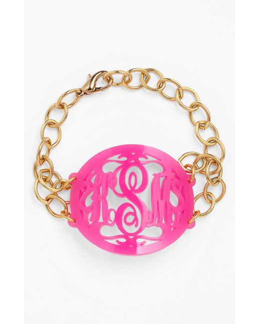 Moon & Lola - Pink 'annabel' Large Oval Personalized Monogram Bracelet (nordstrom Exclusive) - Lyst