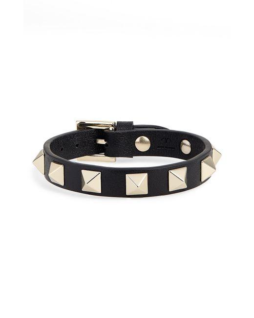Valentino Black Rockstud Small Leather Bracelet