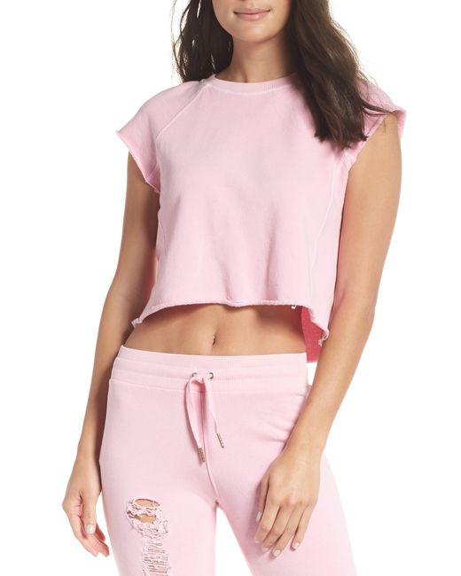 David Lerner - Pink Sleeveless Raw Hem Crop Top - Lyst