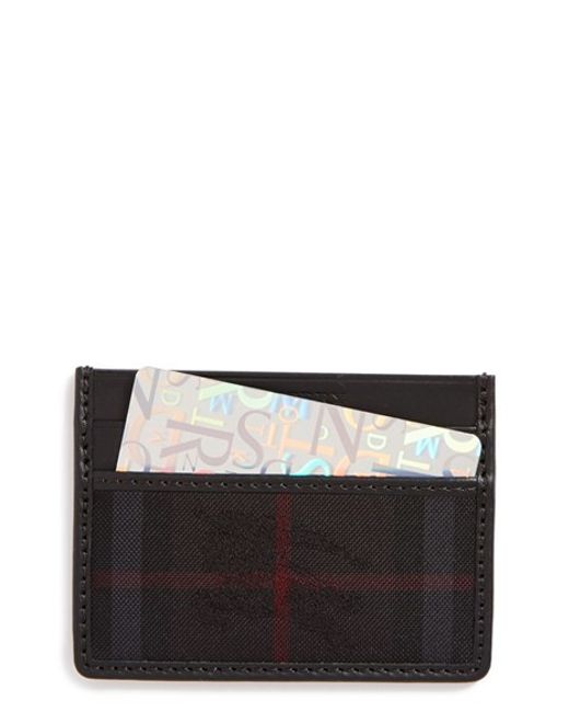 Burberry | Black Sandon Horseferry Check Leather Card Case for Men | Lyst