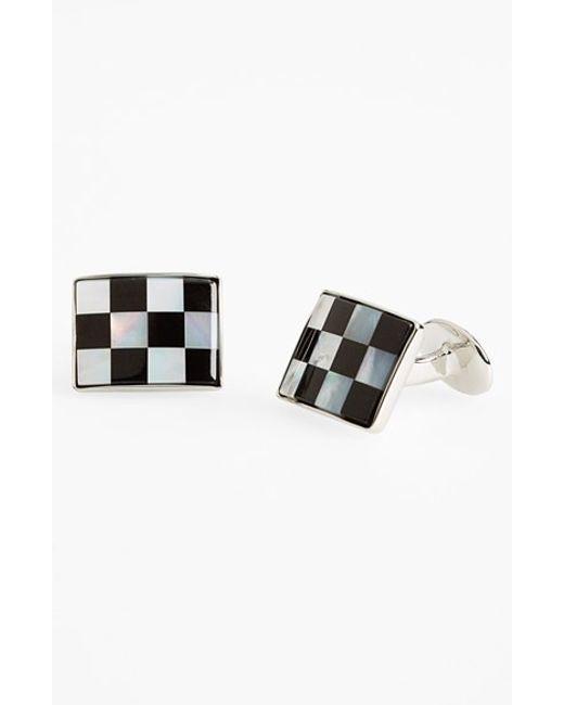 David Donahue | Metallic Checkerboard Cuff Links for Men | Lyst