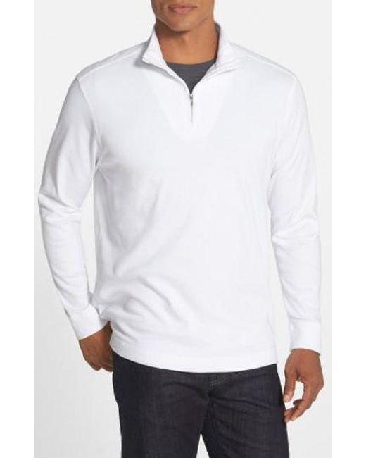 Cutter & Buck | White 'belfair' Quarter Zip Pima Cotton Pullover for Men | Lyst