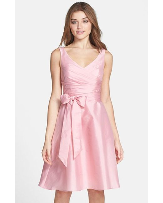 Alfred Sung | Pink Peau De Soie Fit & Flare Dress | Lyst