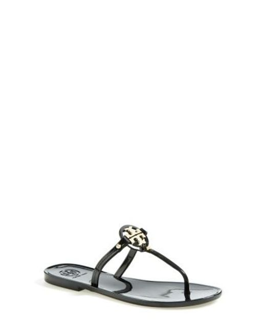 Tory Burch | Black 'mini Miller' Flat Sandal | Lyst
