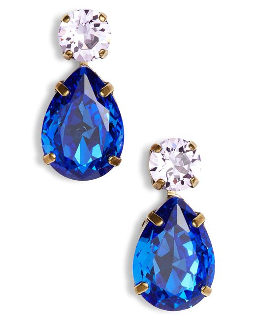 Sorrelli - Blue Teardrop Crystal Earrings - Lyst