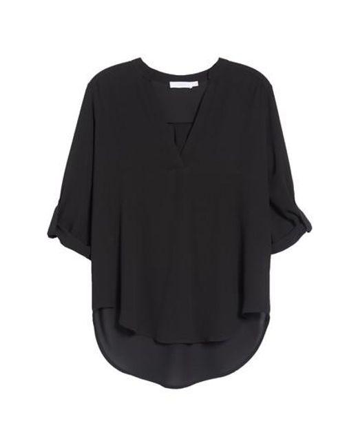Lush - White Roll Tab Sleeve Woven Shirt - Lyst