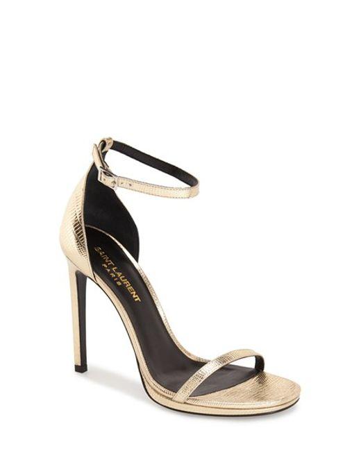 Saint Laurent | Black 'jane' Ankle Strap Leather Sandal | Lyst