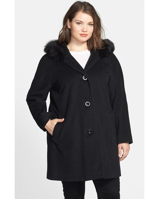 Ellen Tracy | Black Kimono Sleeve Jacket With Genuine Fox Fur Trim | Lyst