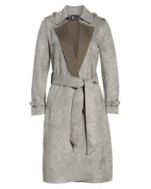 Love Token | Gray Faux Suede Long Trench Coat | Lyst