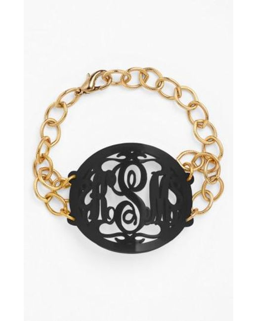Moon & Lola | Black 'annabel' Large Oval Personalized Monogram Bracelet (nordstrom Exclusive) | Lyst