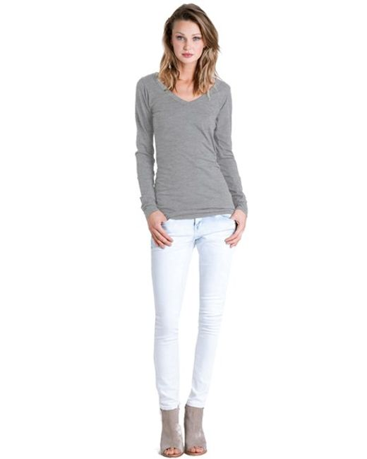 Lamade   Gray Long V-neck Cotton Tee   Lyst