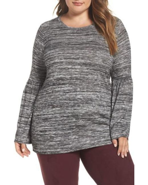 Two By Vince Camuto | Gray Ruched Bell Sleeve Sweater | Lyst