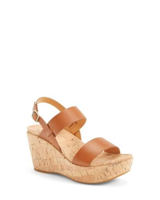 Kork-Ease | Brown Kork-ease 'austin' Slingback Wedge Sandal | Lyst