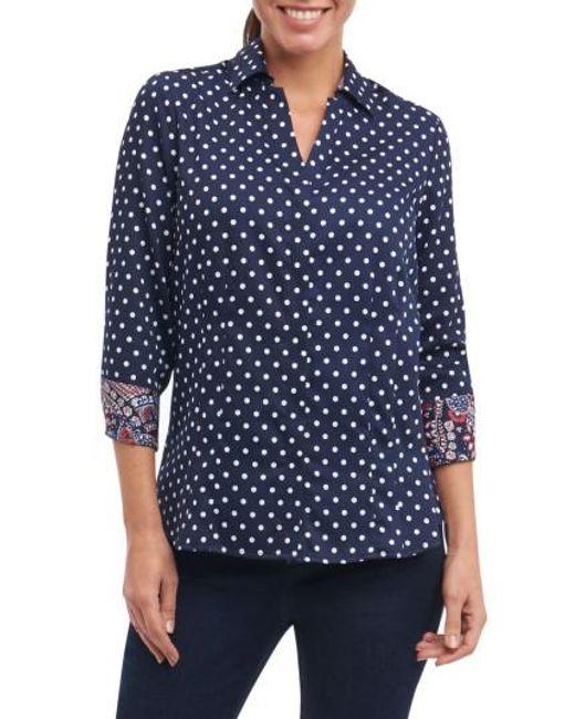 Foxcroft | Blue Taylor Classic Dot Non-iron Cotton Shirt | Lyst