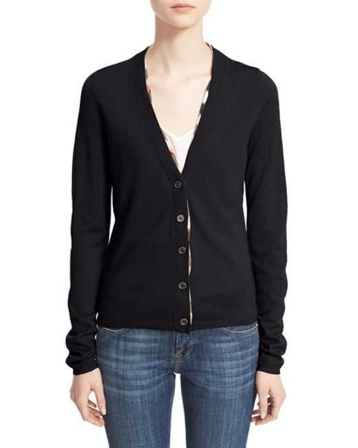 Burberry Brit | Black Check Trim Wool Cardigan | Lyst