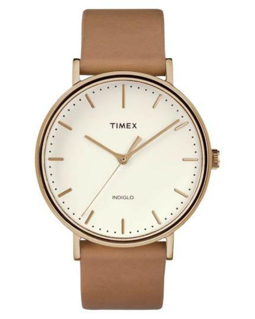 Timex - Metallic Timex Fairfield Leather Strap Watch - Lyst