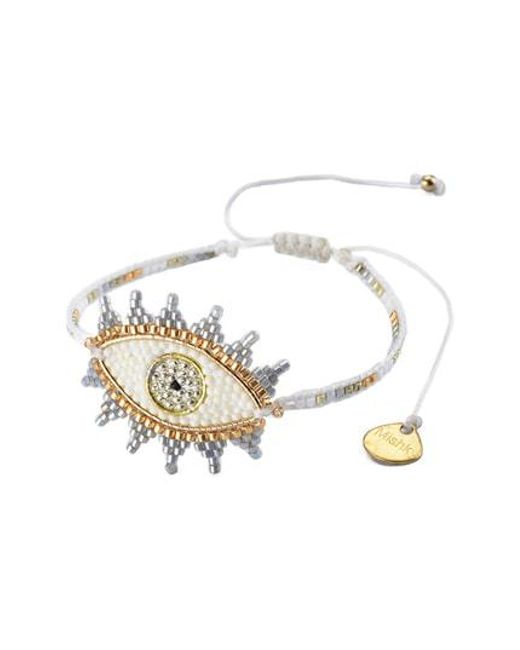 Mishky - White Small Evil Eye Bracelet - Lyst