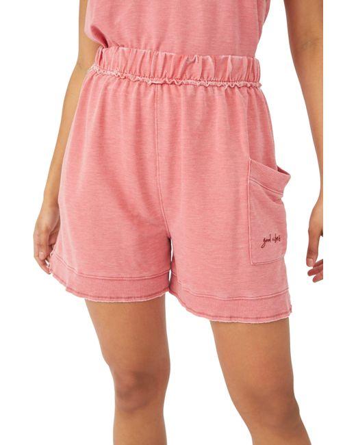 Free People Pink Cozy Girl Distressed Drawstring Shorts
