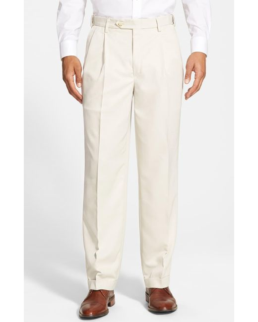 Berle Blue Self Sizer Waist Pleated Classic Fit Dress Pants for men