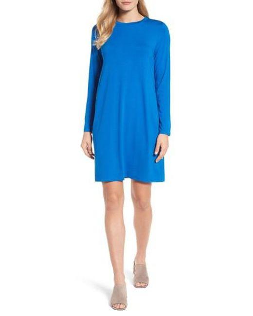 Eileen Fisher - Blue Jersey Shift Dress - Lyst