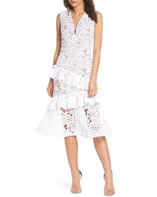 Bronx and Banco - White Donna Ruffle Lace Midi Dress - Lyst