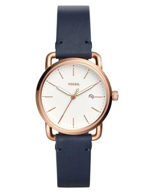 Fossil | Metallic Commuter Leather Strap Watch | Lyst
