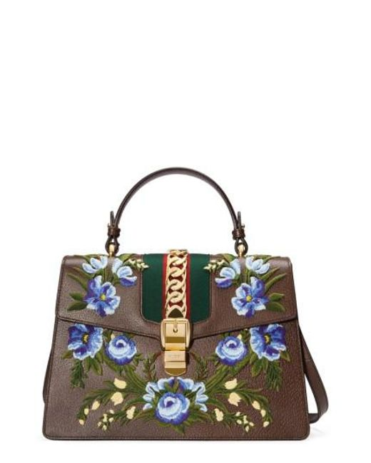 Gucci - Multicolor Medium Sylvie Embroidered Top Handle Leather Shoulder Bag - Lyst