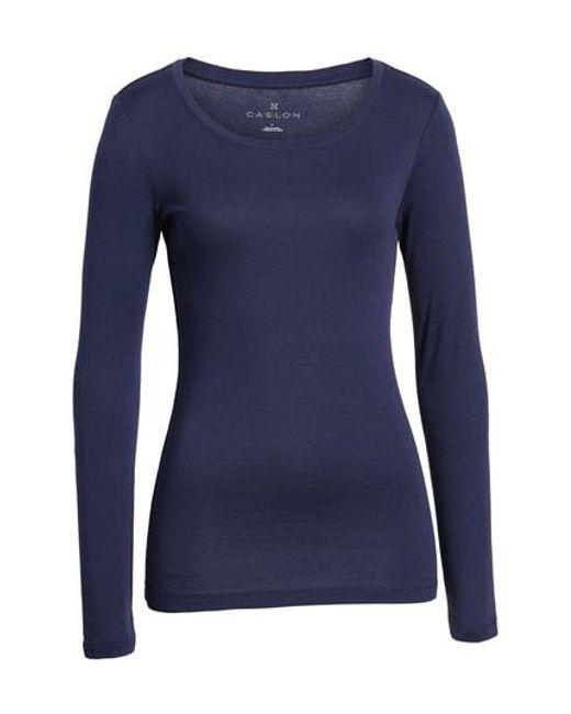 Caslon - Blue Caslon Long Sleeve Scoop Neck Cotton Tee - Lyst