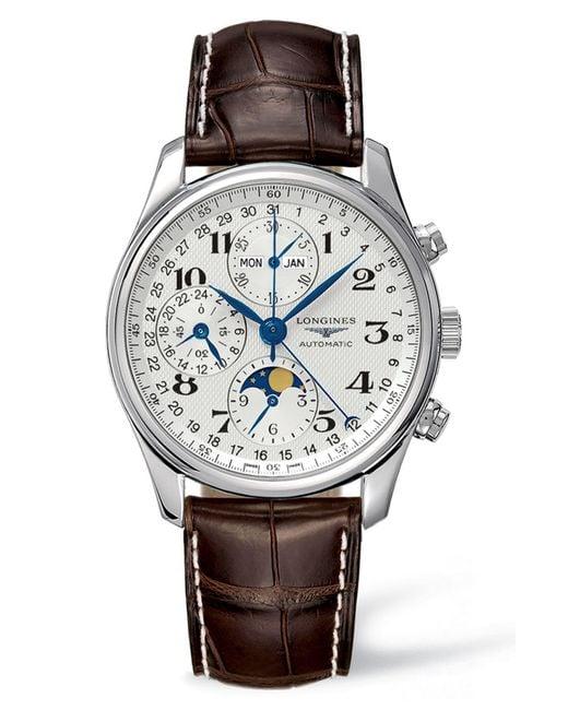 Longines Metallic Master Automatic Chronograph Leather Strap Watch
