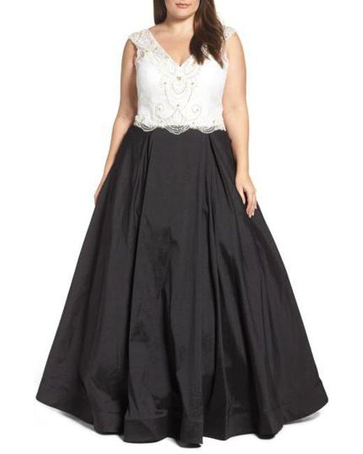 Mac Duggal   Black Embellished Lace & Taffeta Ballgown   Lyst
