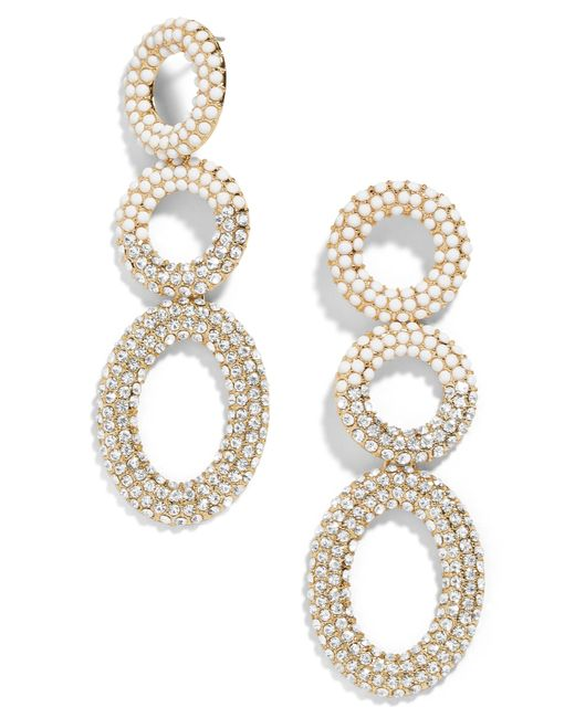 BaubleBar - White Mimi Hoop Drop Earrings - Lyst