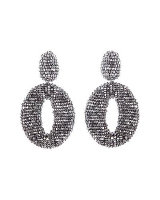 Oscar de la Renta   Metallic Beaded Frontal Hoop Earrings   Lyst