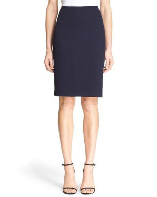 St. John | Blue Milano Pique Knit Pencil Skirt | Lyst