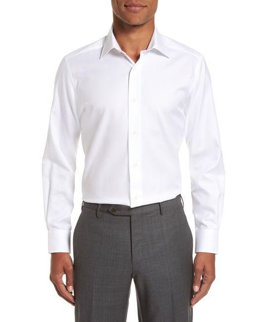 David Donahue Blue Trim Fit Cotton Dress Shirt for men