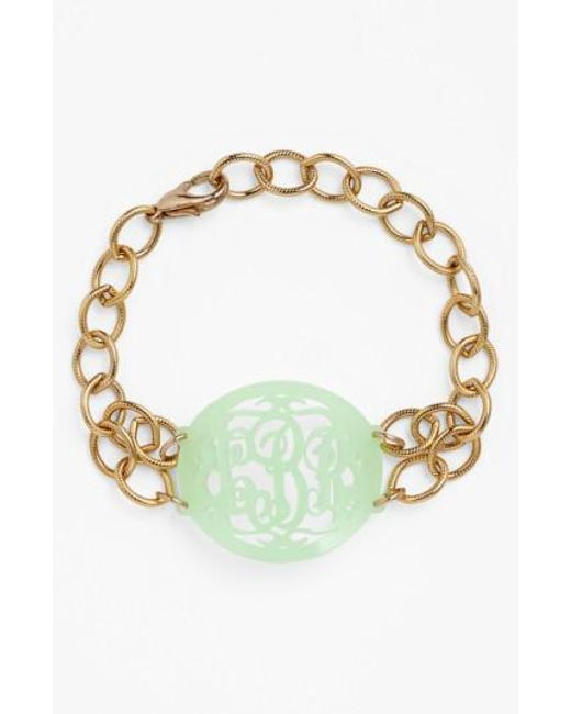 Moon & Lola | Metallic 'annabel' Medium Oval Personalized Monogram Bracelet (nordstrom Exclusive) | Lyst