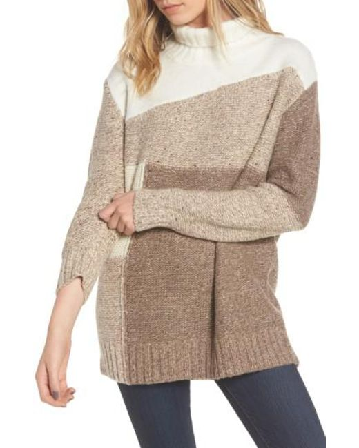 French Connection | Brown Anna Patchwork Turtleneck | Lyst