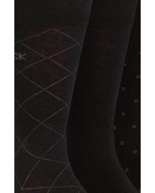 Calvin Klein Brown 3-pack Patterned Dress Socks, Black for men