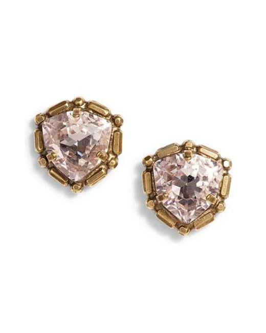 Sorrelli Natural Adorned Triangle Crystal Stud Earrings Lyst