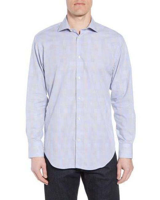 Thomas Dean Regular Fit Multicolor Stripe Herringbone Sport Shirt Buy Newest 6ojC7E