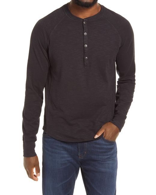 Good Man Brand Black Legend Slub Long Sleeve Henley T-shirt for men